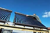 Fitting a hot water solar panel system