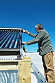 Preparing the pipework from a solar hot water system