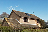 Solar powered heating system on a detached house, Suffolk, UK