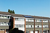 1960s built council house with solar voltaic panels, Wanstead, East London, UK