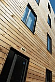 Timber cladding on modern apartments, East London, UK