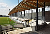 Cedar roof on terraced stand, Princes Park, Dartford FC, South East London, UK