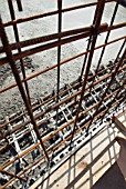 Steel rods put into place for concrete on the construction of a multi-storey car park, High Wycombe,