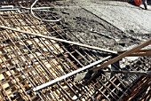 Steel rods put into place for concrete pouring on the construction of a multi-storey car park, High Wycombe,