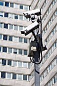 Security cameras at Lunar House, home of headquarters of the UK Border Agency, Croydon, South London, UK