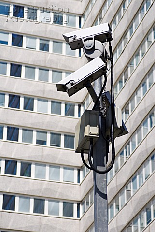 Security cameras at Lunar House home of headquarters of the UK Border Agency Croydon South London UK