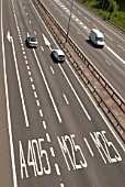 Lane junction markings on the M25 for the A405, Hertfordshire, UK