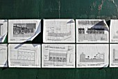 Residential plans stuck to hoarding, Shepherds Bush, London, UK, 2008