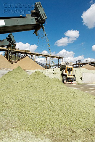 Conveyor belts on a Glass recycling machine at Day Aggregates a construction materials and recycling