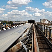 Conveyor belt at an aggregate plant, Greenwich, South-East London, UK