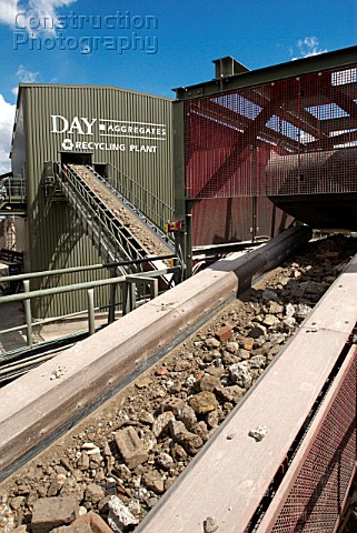 Conveyor belts moving rubble at Day Aggregates a construction materials and recycling plant Greenwic