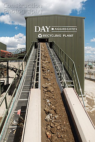 Conveyor belt moving rubble at Day Aggregates a construction materials and recycling plant Greenwich