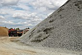 Gravel pile in an aggregate yard, Greenwich peninsula, South-East London, UK