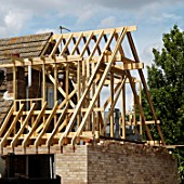 Construction of a house side extension, Clacton-on-Sea, Essex, UK