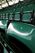 Spectator seats, No. 1 Court, All England Lawn Tennis Club, Wimbledon, London, UK, 2008, close up