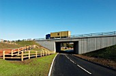 New road and pedestrian access near the revamped Haughley Bends Junction on the A14, Stowmarket, Suffolk, UK