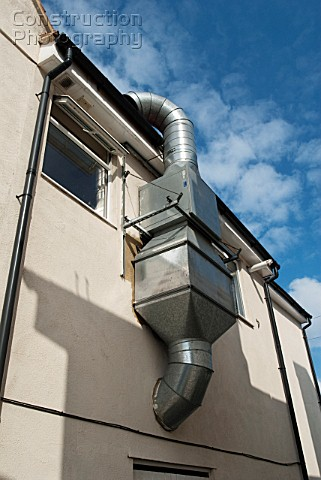 Ventilation system on the exterior wall of an Indian takeaway Benfleet Essex UK