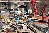 Early groundworks before construction of The Shard at London Bridge, UK