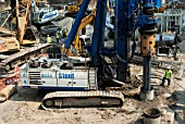 A piling machine on the construction site of The Shard at London Bridge, UK