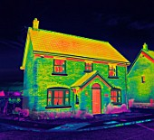 Infrared-Picture of a Thermal Insulated house (digital composite)