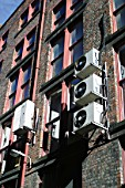 Air cooling units on the rear facade of an office building