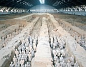 Terracotta Warriors, Terracotta Army in battle formation, Qin Dynasty, Shaanxi Province, Xian, China. UNESCO World Heritage.