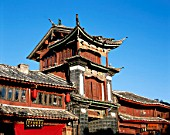 Old wooden building, Ming Dynasty, Lijiang, Yunnan Province in China. UNESCO World Heritage.