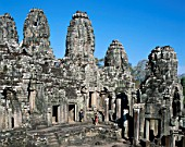 Temple Towers, Bayon, Angkor Thom temple, Siem Reap, Cambodia. UNESCO World Heritage.