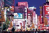 Shopping mall at night in Shinjuku-dori district, Tokyo, Honshu, Japan.