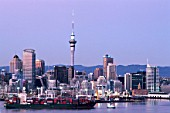 Auckland harbour and skyline, New Zealand.