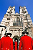 England, London, Chelsea Pensioners Entering Westminster Abbey