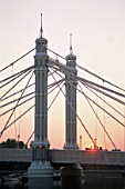 England, London, Chelsea, Albert Bridge at Sunrise