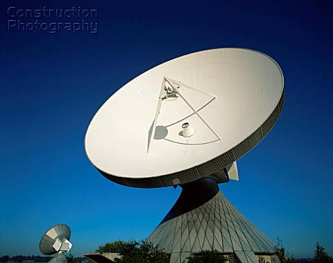 View of a satellite dish Satellite Communications Station Raisting Bavaria Germany The station is us