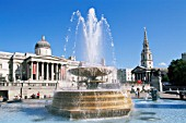 England, London, Trafalgar Square, National Gallery and Fountain