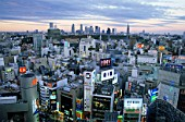Japan, Tokyo, Shibuya, Shibuya Area Skyline with Shinjuku in the Background
