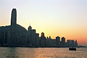 City Skyline and Victoria Harbour at Dusk, Hong Kong, China