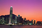 City Skyline and Victoria Harbour at Night, Hong Kong, China