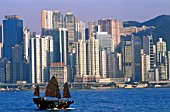Victoria Harbour,Junk and City Skyline in Background, Hong Kong, China