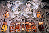 Night view of Casa Batllo by Antoni Gaudi, Barcelona, Catalonia, Spain