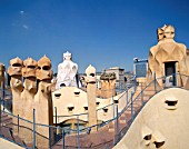 Casa Mila La Pedrera Rooftop Chimneys by Antoni Gaudi, Barcelona, Catalonia, Spain