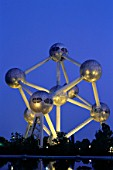 Night view of Atomium, Brussels, Belgium
