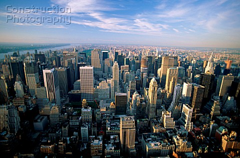 Manhattan City Skyline view from Empire State Building New York City New York USA