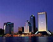 Night view of Jacksonville city skyline and St.Johns River, Florida, USA