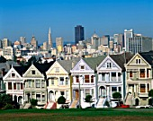 Alamo Square, Houses and City Skyline, San Francisco, California, USA