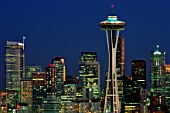 Night View of City Skyline and Space Needle, Seattle, Washington, USA