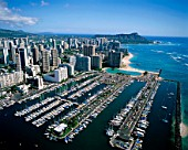 Aerial view of Honolulu Skyline, Marina & Diamond Head, Oahu, Hawaii