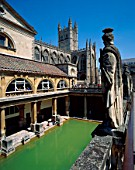 Roman Baths & Bath Abbey, Bath, Somerset, England