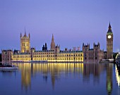 Night view of Westminster, Houses of Parliament and Big Ben, London, UK