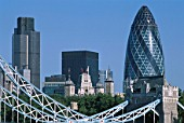 City Skyline and Swiss Re Tower (Gherkin Building). Architect Sir Norman Foster. London, UK