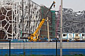 Olympic Aquatic Centre during construction, Beijing, China